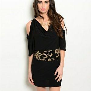 Black Gold Sequins Dress